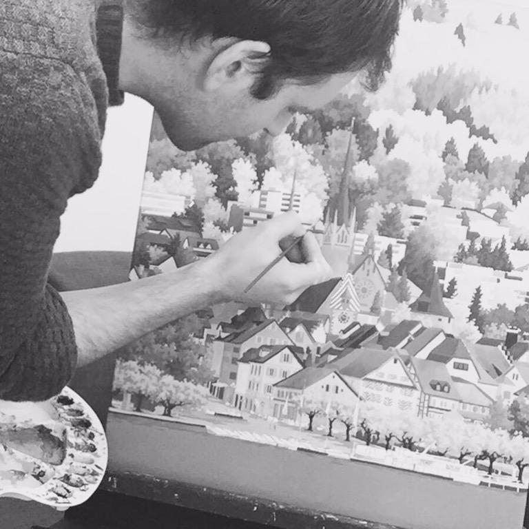 Artist Jonathan Chapman in the studio - January 2016